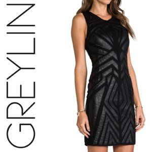 Greylin Leather Cut Out Dress